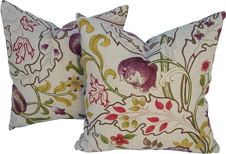 Liberty Nouveau Linen Pillows, Pair