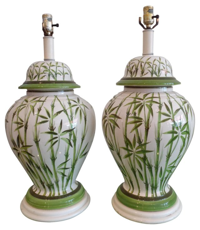 Hand-Painted Bamboo Lamps, Pair