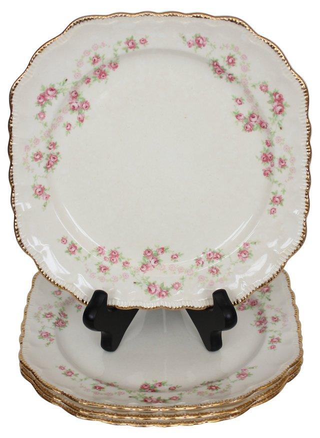 Square Floral Plates, Set of 4