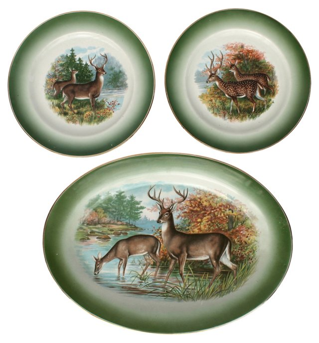 Buffalo Pottery Game Plates, Set of 3