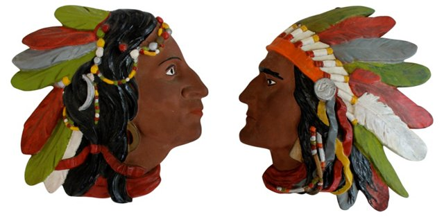 Native American Plaques, Pair