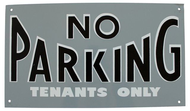 No Parking Tenants Only Sign
