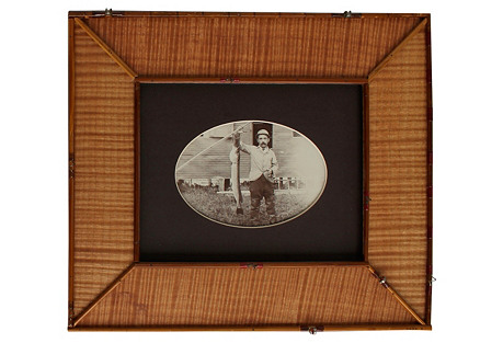 Early Fisherman Photo in Fly Rod Frame