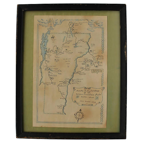 Vermont Honeymoon Map, 1939