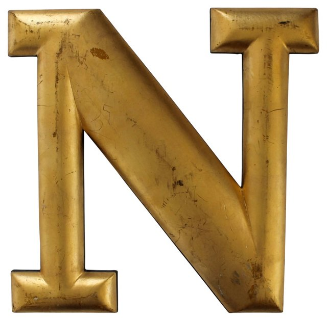 Serif    Wood Letter N