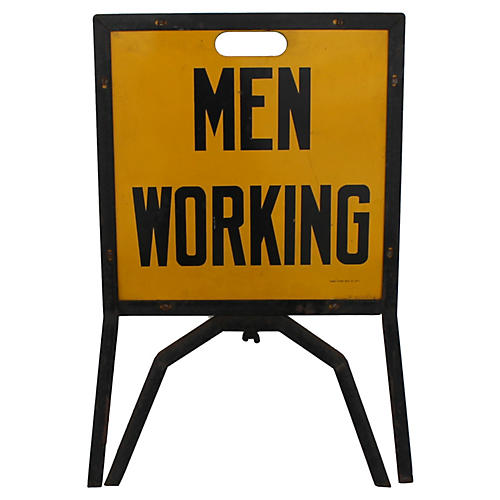 Men Working Construction Sign