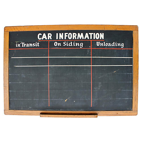 Car Information Chalkboard