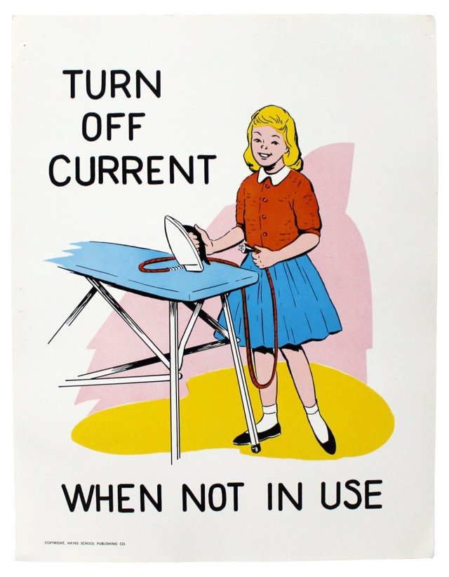 Turn Off Current Safety Poster