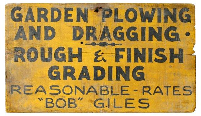 Garden Plowing Sign