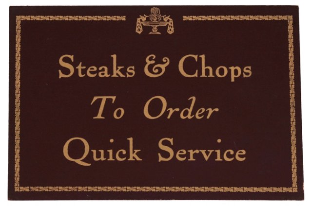 Steaks & Chops         Restaurant Sign