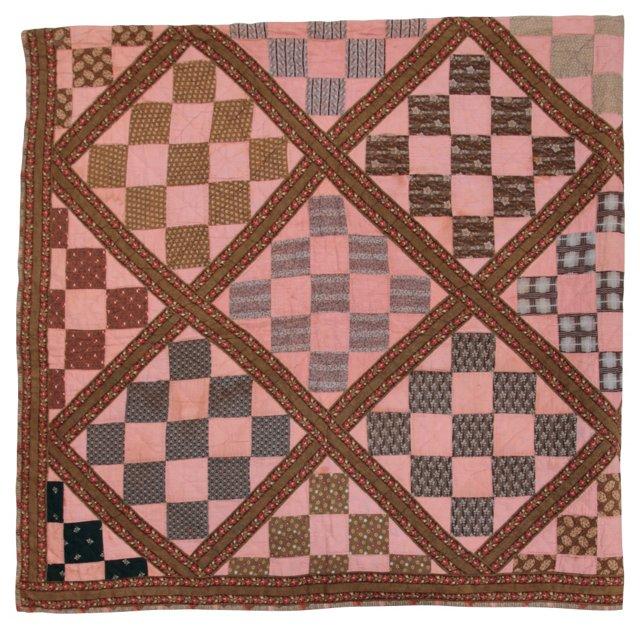 Diamond Pattern Quilt w/ Flowers