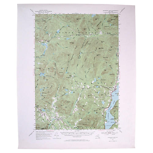 Topographical Map of Schroon Lake, NY