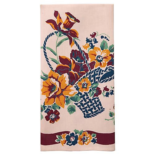 Floral Basket Tea Towel