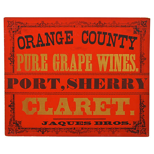 Jaques Bros Wine Sign
