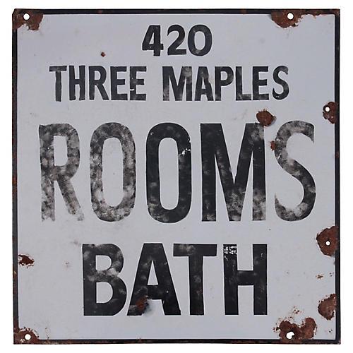 Rooms Bath Porcelain Sign