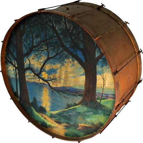 1930s Painted Drum w/ Cabin