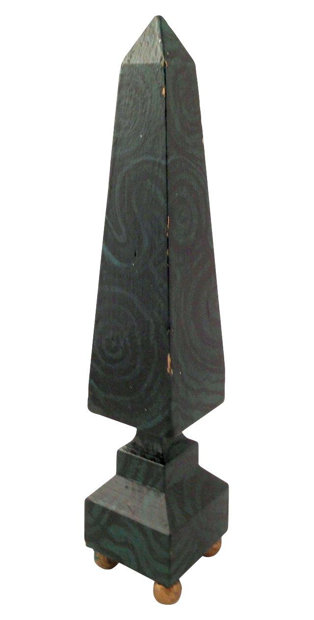 Painted Malachite-Finish Obelisk