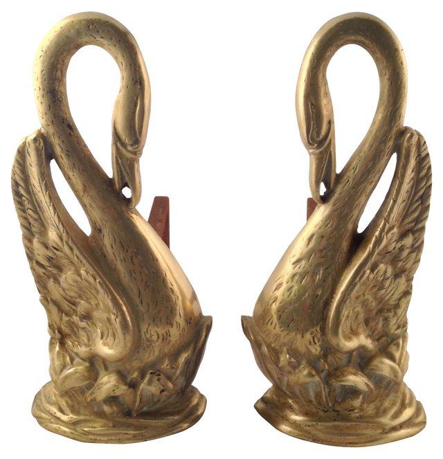 Solid Brass Swan Andirons