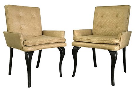 Donghia-Style Woven Leather Chairs, Pair
