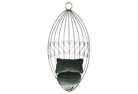 Iron Hanging Chair w/ Velvet Cushions