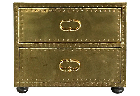 Brass-Clad 2 Drawer Chest