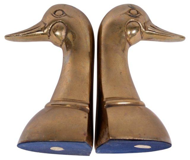Brass Duck Bookends, Pair