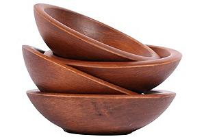 Handmade Wooden Bowls, S/4