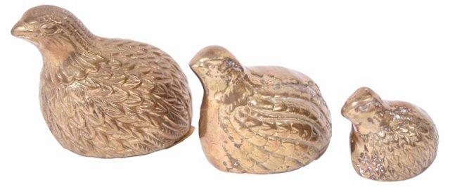 Brass Quail Figurines, S/3