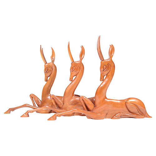 Hand-Carved Wood Deer, S/3