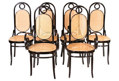 High-Back Italian Caned Chairs, S/6
