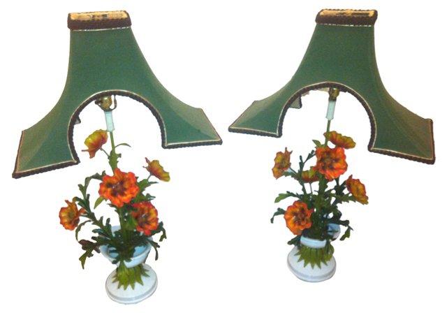 Asian-Inspired Orange Floral Lamps, Pair