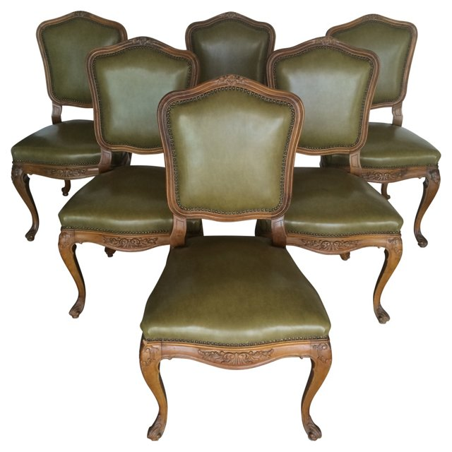 French  Leather Chairs, Set of 6