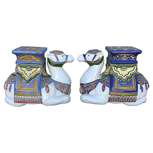 Camel Plant Stands, Pair