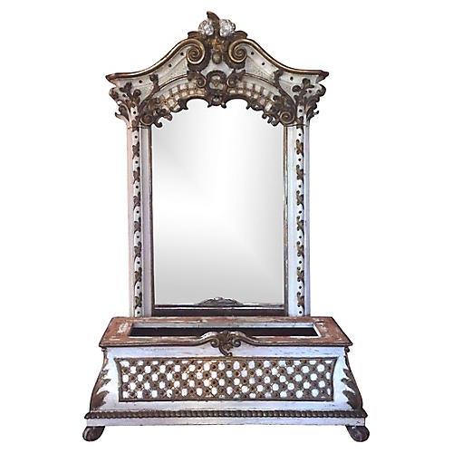 19th-C. Italian Rococo Mirror w/ Bench