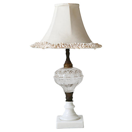 Glass Lamp w/ Porcelain Base