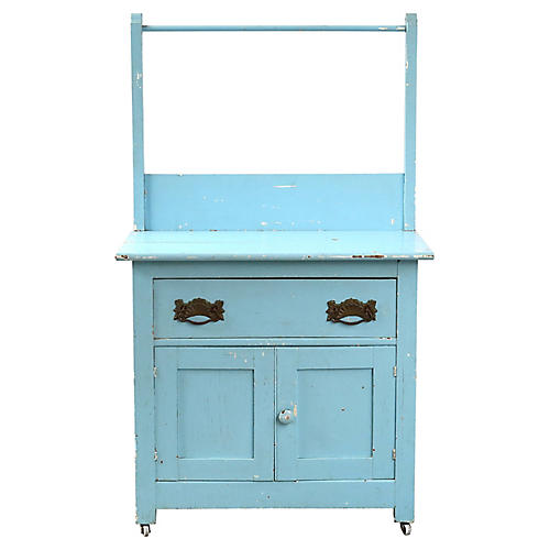 Farmhouse-Style Blue Cabinet