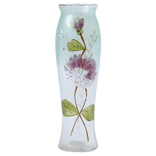 Frosted Vase w/ Painted Flowers