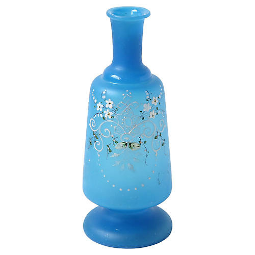 Hand-Painted Blue Glass Vase