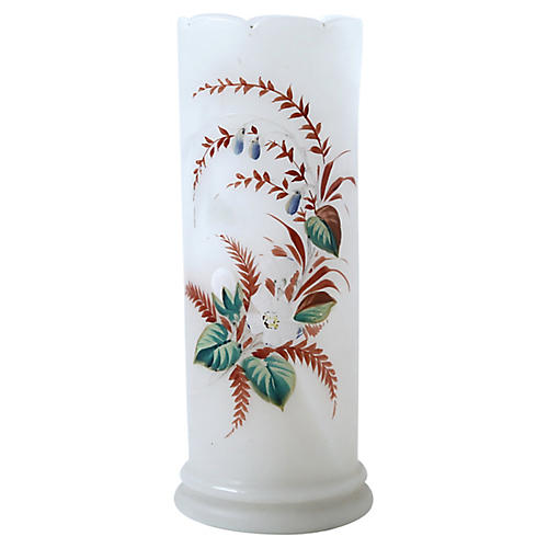 Frosted White Tropical Print Vase