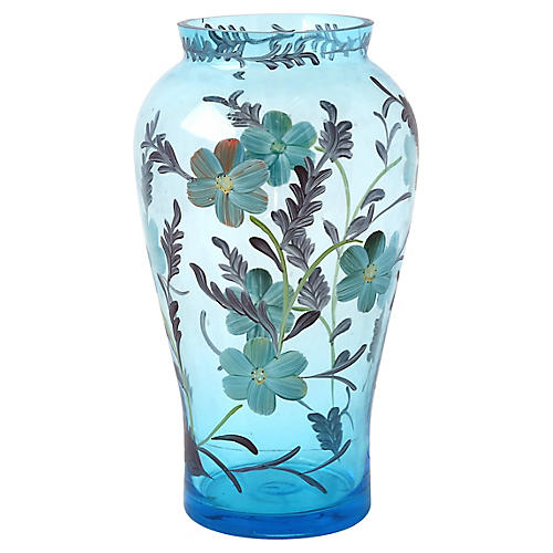 Hand-Painted Blue Flower Vase