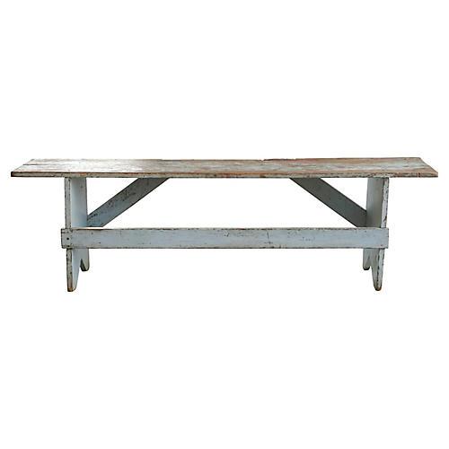 Blue Farmhouse-Style Bench
