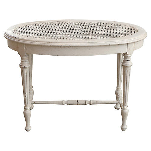 White Cane-Top Side Table