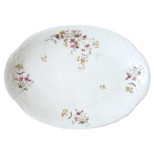 Small White Platter with Floral Detail