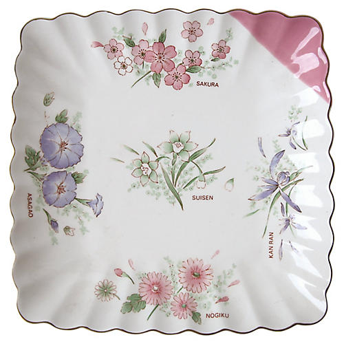 Square Floral Plate