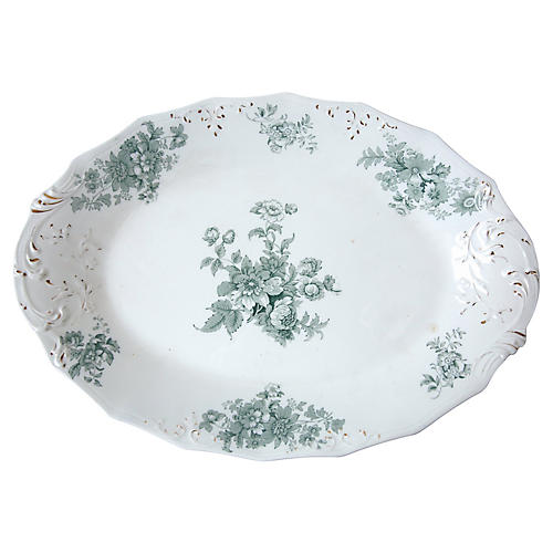 Serving Platter with Blue Flowers