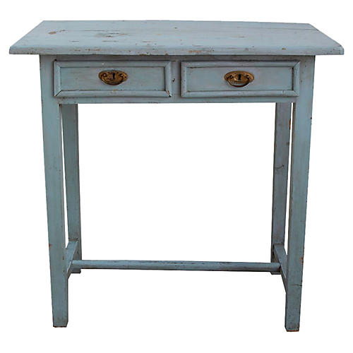 Blue Table w/ Two Drawers