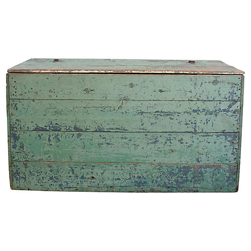 Green Painted Trunk w/ Fabric Liner