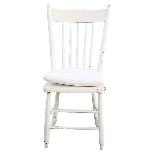 White Chair with Seat Pad