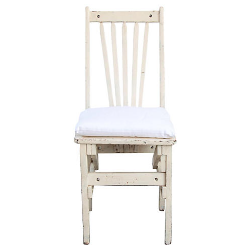 Vintage Cream Chair with Seat Pad