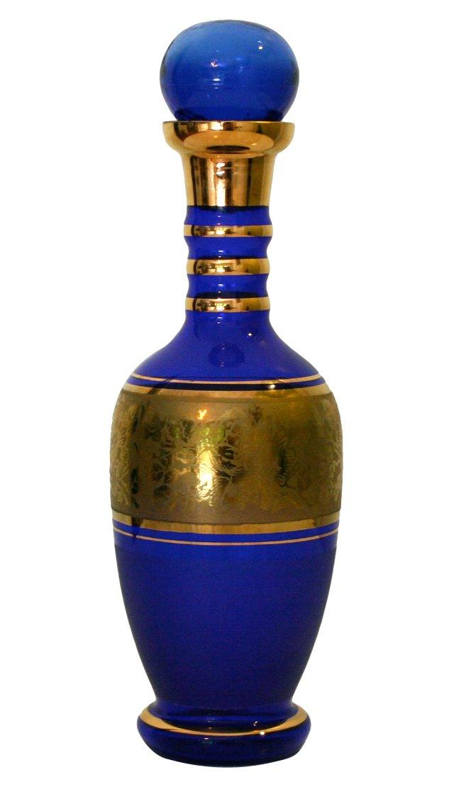 Cobalt Gold Etched Decanter